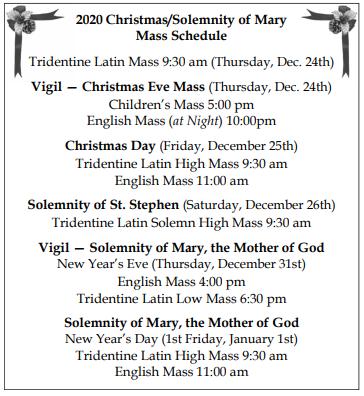 St. Stephen Bulletin -error: Mass on 12/26 is 10am